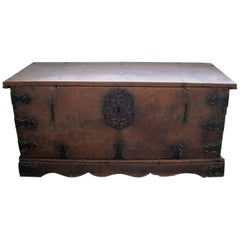 17th Century Spanish Walnut Chest with Original Iron Fittings