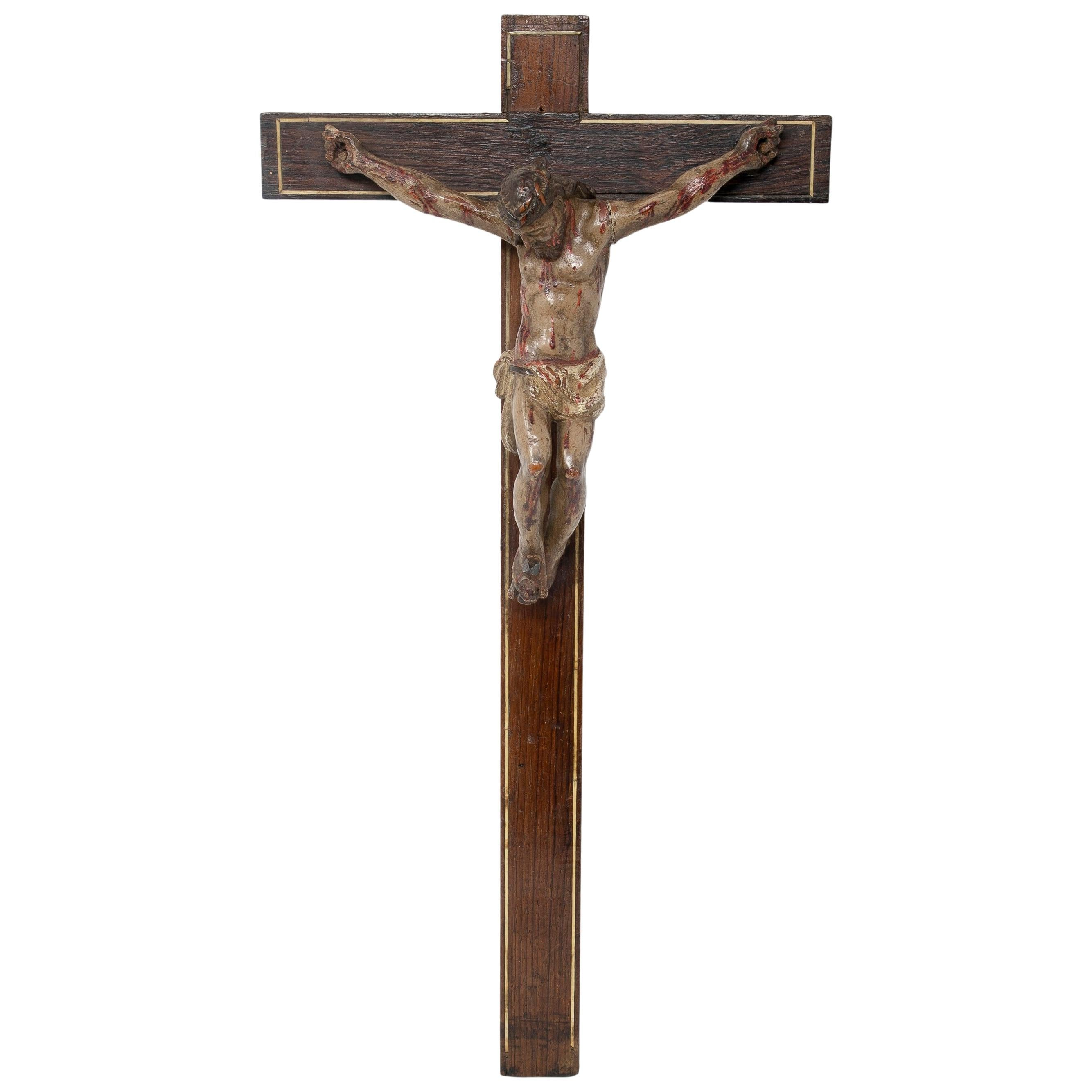 17th Century Spanish Wooden Crucifix Figure Sculpture