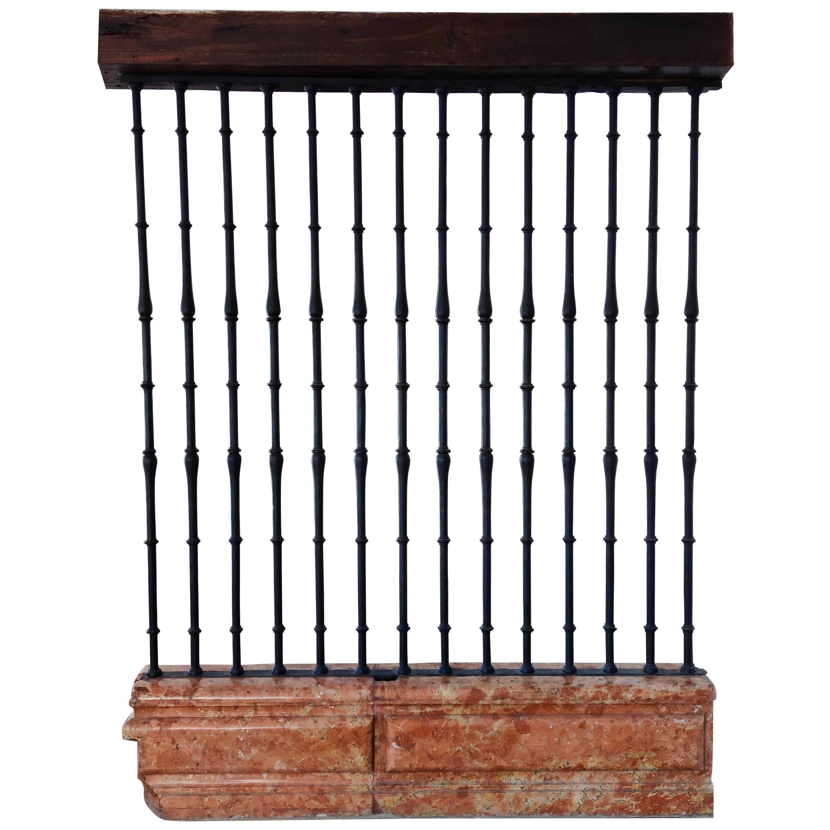 17th Century Spanish Wrought Iron Grille on Rosa Marble Base