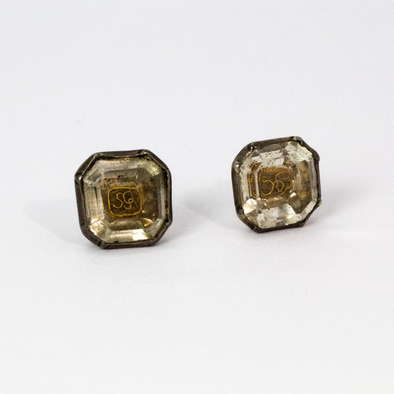 17th Century Stuart Crystal Silver Stud Earrings In Good Condition For Sale In Chipping Campden, GB