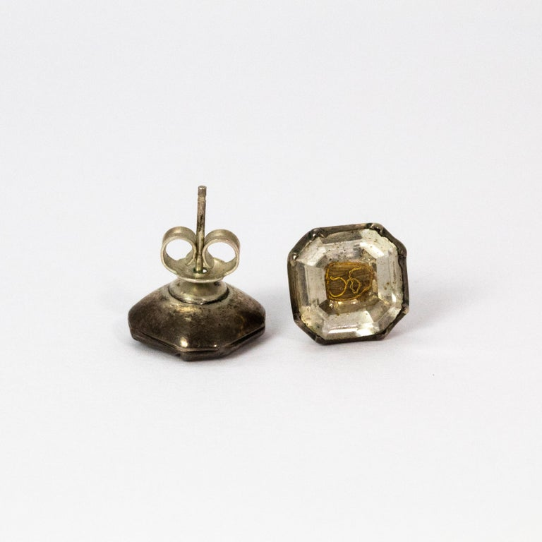 Women's or Men's 17th Century Stuart Crystal Silver Stud Earrings For Sale