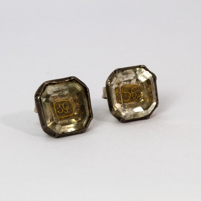 17th Century Stuart Crystal Silver Stud Earrings For Sale 1