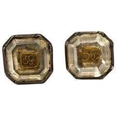 17th Century Stuart Crystal Silver Stud Earrings