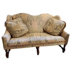 17th Century Style French Provincial Walnut Settee Vintage Embroidered Fabric