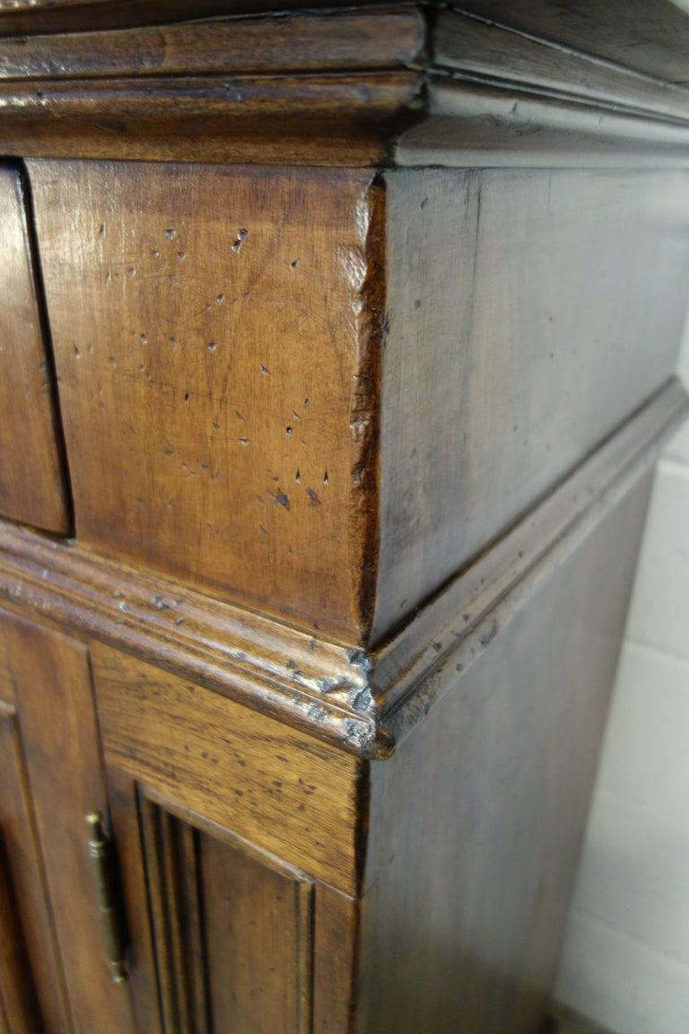 17th Century Style Italian Classic Old Walnut Credenza, Custom Cabinet Line For Sale 6