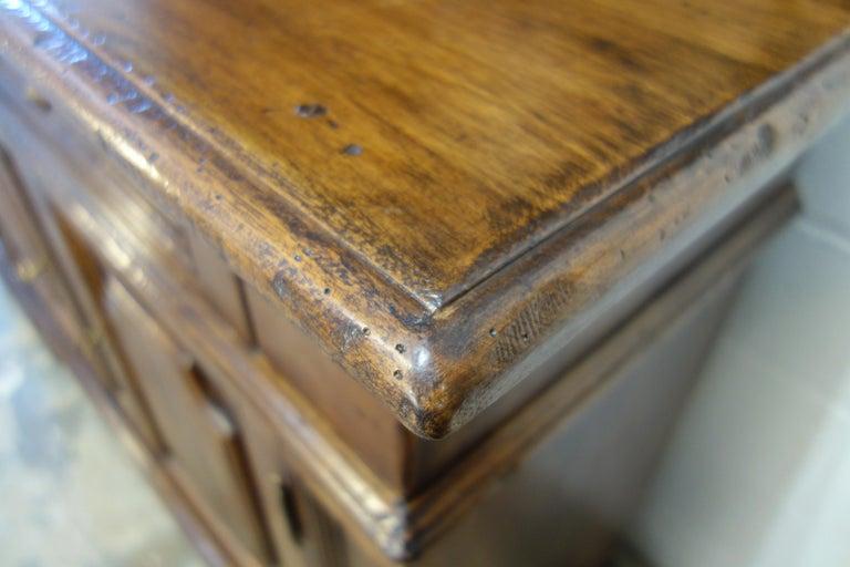 17th Century Style Italian Classic Old Walnut Credenza, Custom Cabinet Line For Sale 7