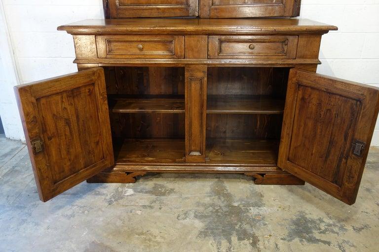 17th Century Style Italian Classic Old Walnut Credenza, Custom Cabinet Line For Sale 10