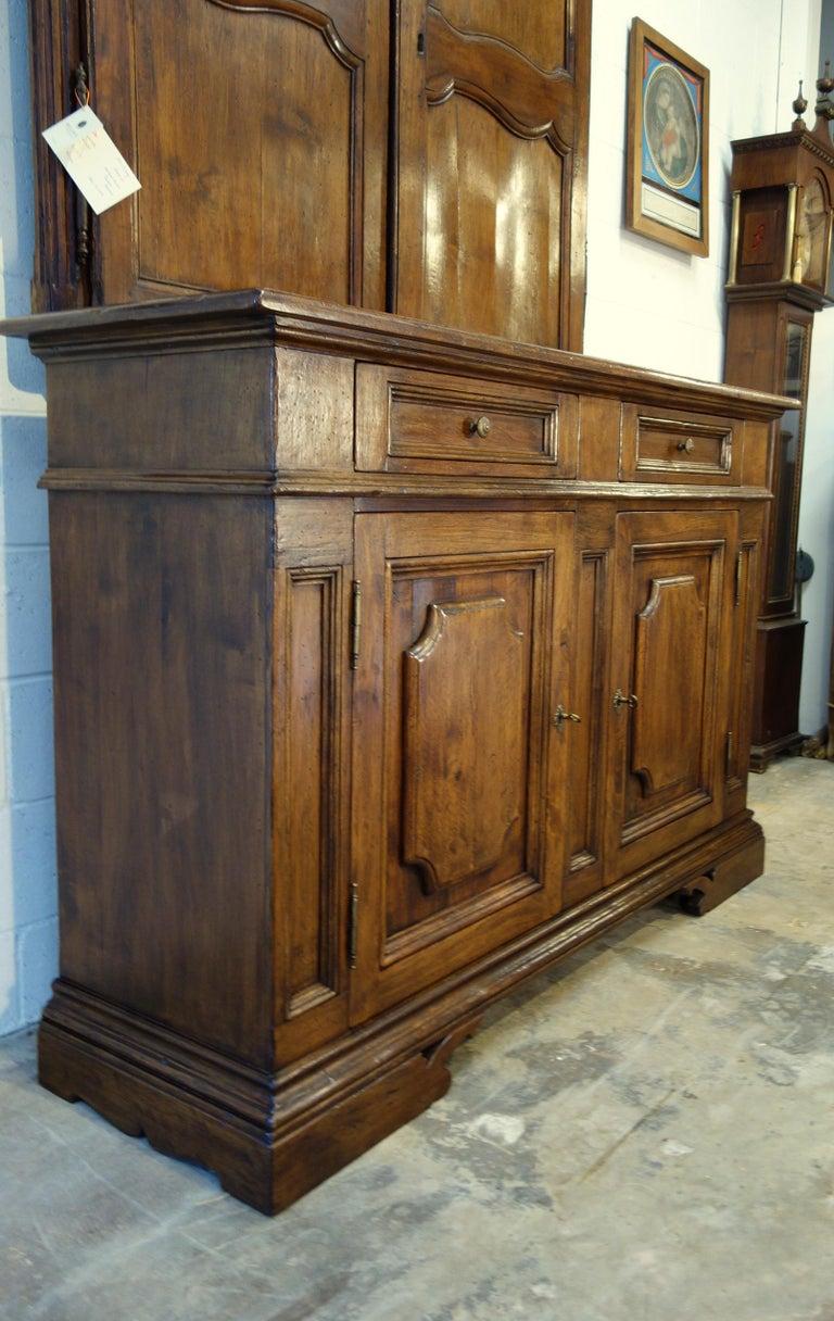 Baroque 17th Century Style Italian Classic Old Walnut Credenza, Custom Cabinet Line For Sale