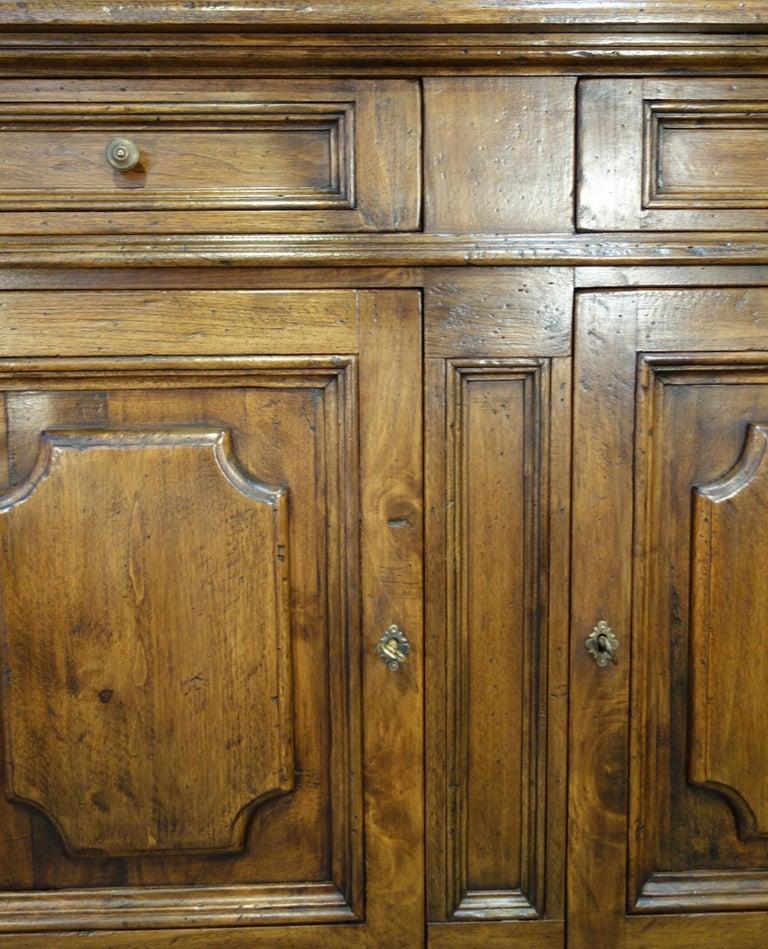 Contemporary 17th Century Style Italian Classic Old Walnut Credenza, Custom Cabinet Line For Sale