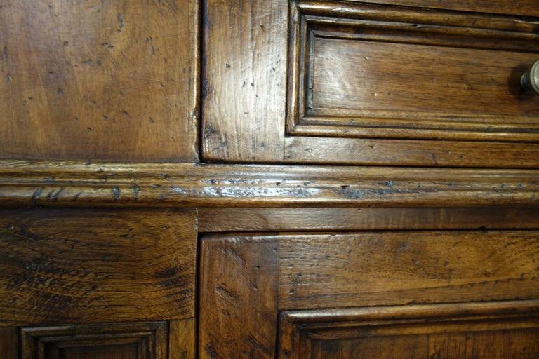 17th Century Style Italian Classic Old Walnut Credenza, Custom Cabinet Line For Sale 2
