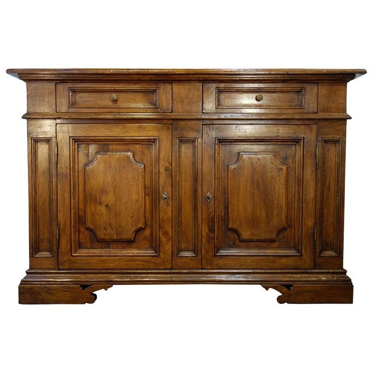 17th Century Style Italian Classic Old Walnut Credenza, Custom Cabinet Line For Sale