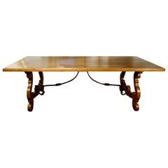 17th C Style Italian Natural Old Walnut Refectory Dining Table with Custom Sizes