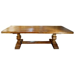 17th Century Style Italian Solid Slab Old Chestnut Trestle Table & Custom Sizes
