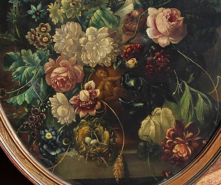 Italian old master style still life painting. Oil on canvas, early 19th century. Original carved frame.