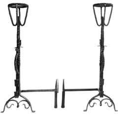 17th Century Style Pair of Gothic Serpent Andirons