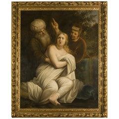 17th Century Susanna and the Elders Oil on Canvas Dutch School, 1600s