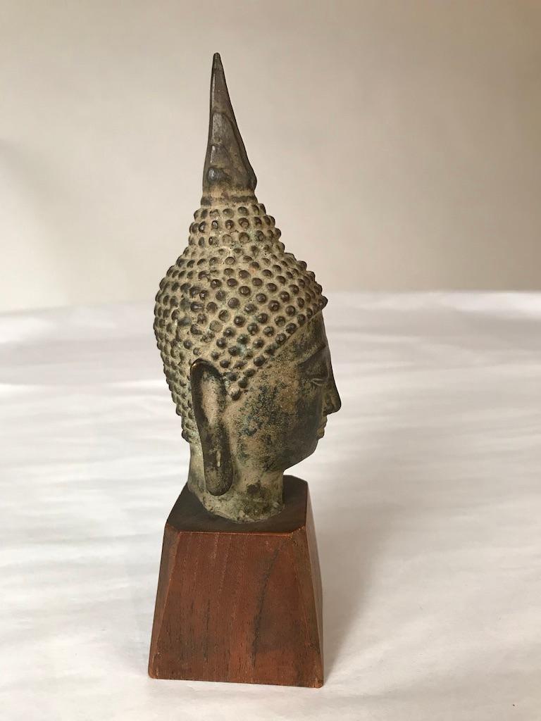 17th Century Thai Bronze Head of the Buddha For Sale 5