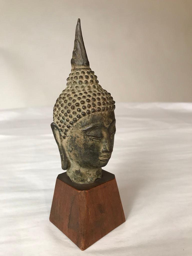 17th Century Thai Bronze Head of the Buddha For Sale 6