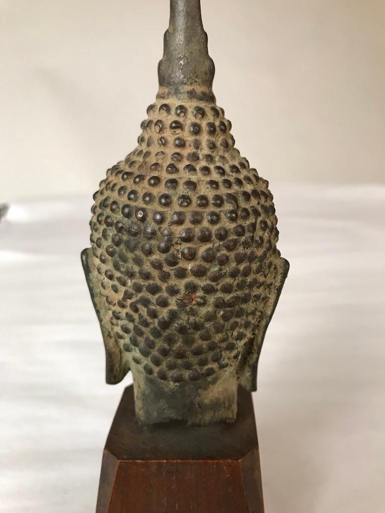17th Century Thai Bronze Head of the Buddha For Sale 9
