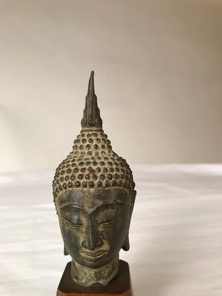 17th Century Thai Bronze Head of the Buddha For Sale 10
