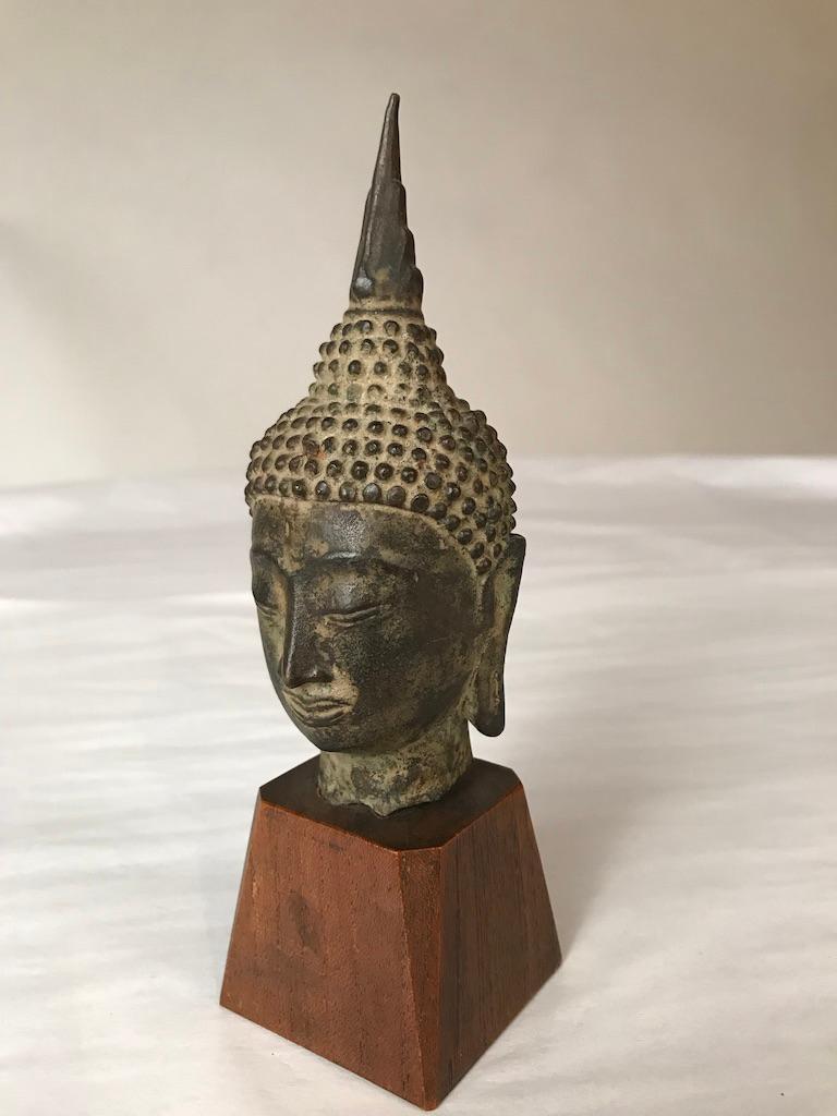Cast 17th Century Thai Bronze Head of the Buddha For Sale
