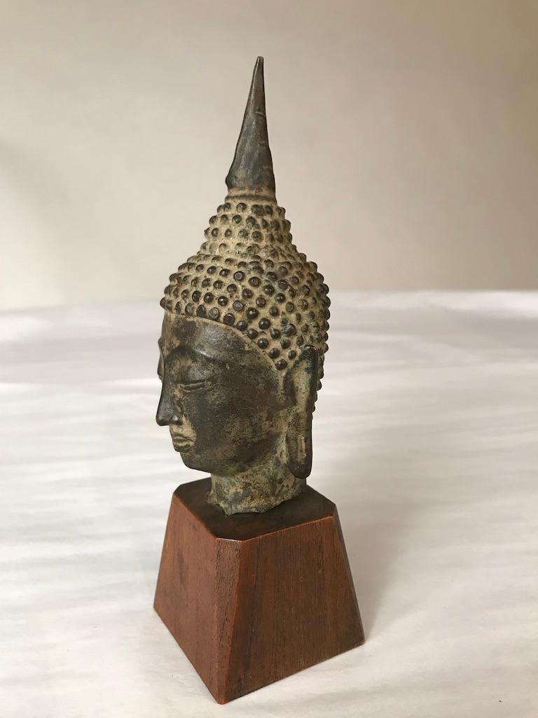 17th Century Thai Bronze Head of the Buddha In Good Condition For Sale In Stamford, CT