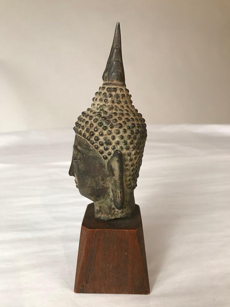 17th Century Thai Bronze Head of the Buddha For Sale 1
