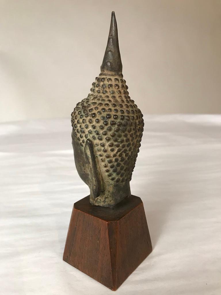 17th Century Thai Bronze Head of the Buddha For Sale 2