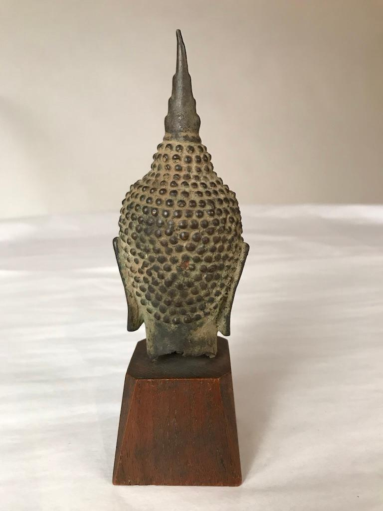 17th Century Thai Bronze Head of the Buddha For Sale 3