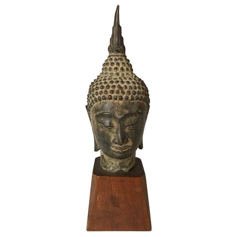 17th Century Thai Bronze Head of the Buddha For Sale