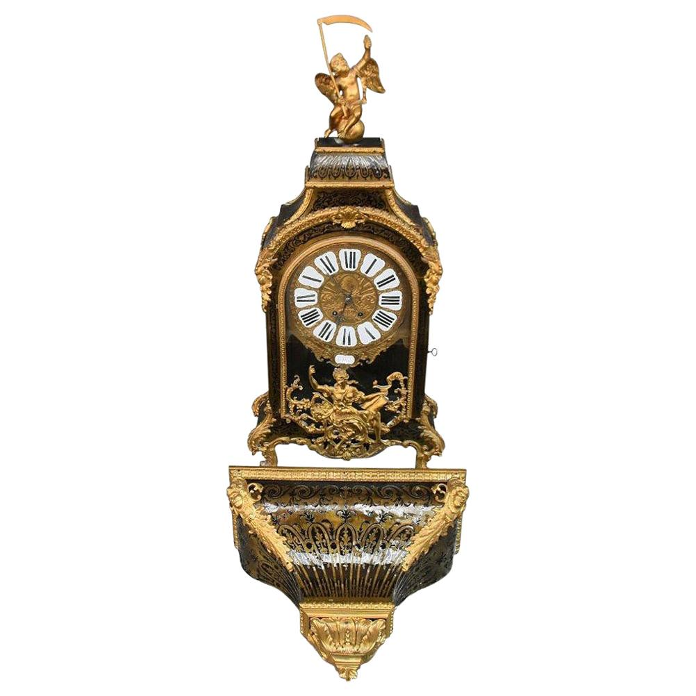17th Century Time Clock Cartel Louis XIV André Boulle Marquetry