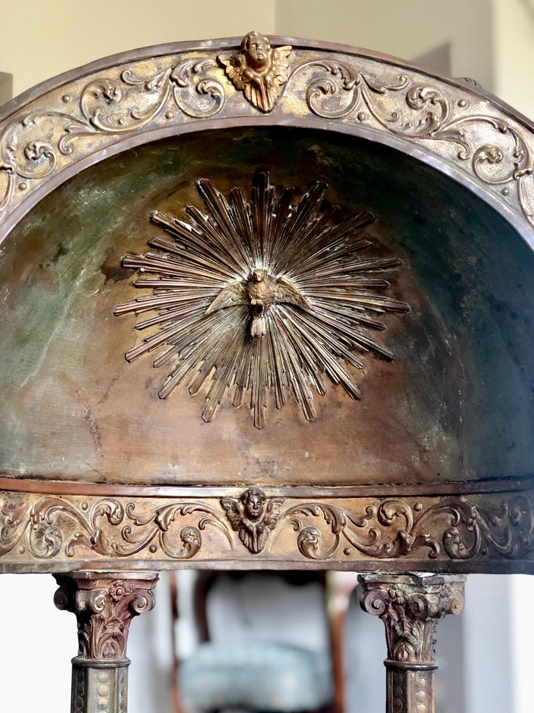 Beautiful authentic Italian metal and wood portable tabernacle in style of Antonio da Sangallo the Younger.