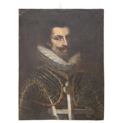 17th Century Unknown Artist Portrait of Spanish Soldier, Antique Oil on Canvas