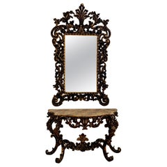 17th Century Venetian Console Table and Mirror