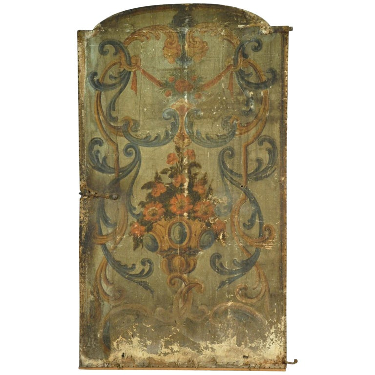 17th Century Venetian Double Sided Oil Painting Door For Sale