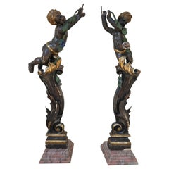 17th Century Venetian Pair of Painted Wood Sculptures