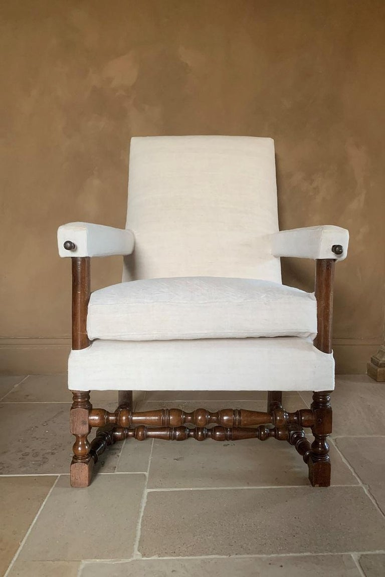 Hand-Crafted 17th Century Walnut Armchair For Sale