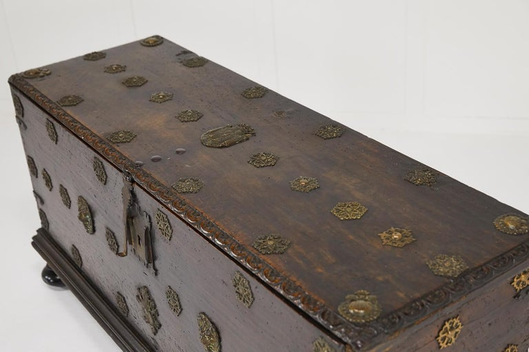 17th Century Walnut Spanish Trunk For Sale 4