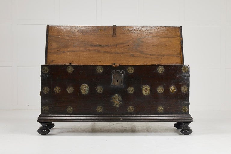 Spanish Colonial 17th Century Walnut Spanish Trunk For Sale