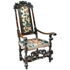 17th Century William and Mary Ebonized Walnut Armchair with Crewel Work