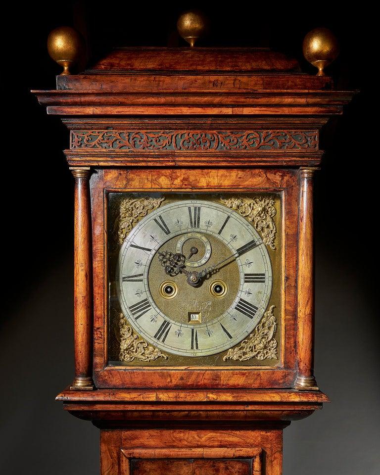 English 17th Century William and Mary Eight Day Burr Walnut Longcase Clock, John Martin For Sale