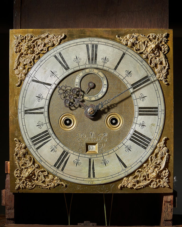 18th Century and Earlier 17th Century William and Mary Eight Day Burr Walnut Longcase Clock, John Martin For Sale