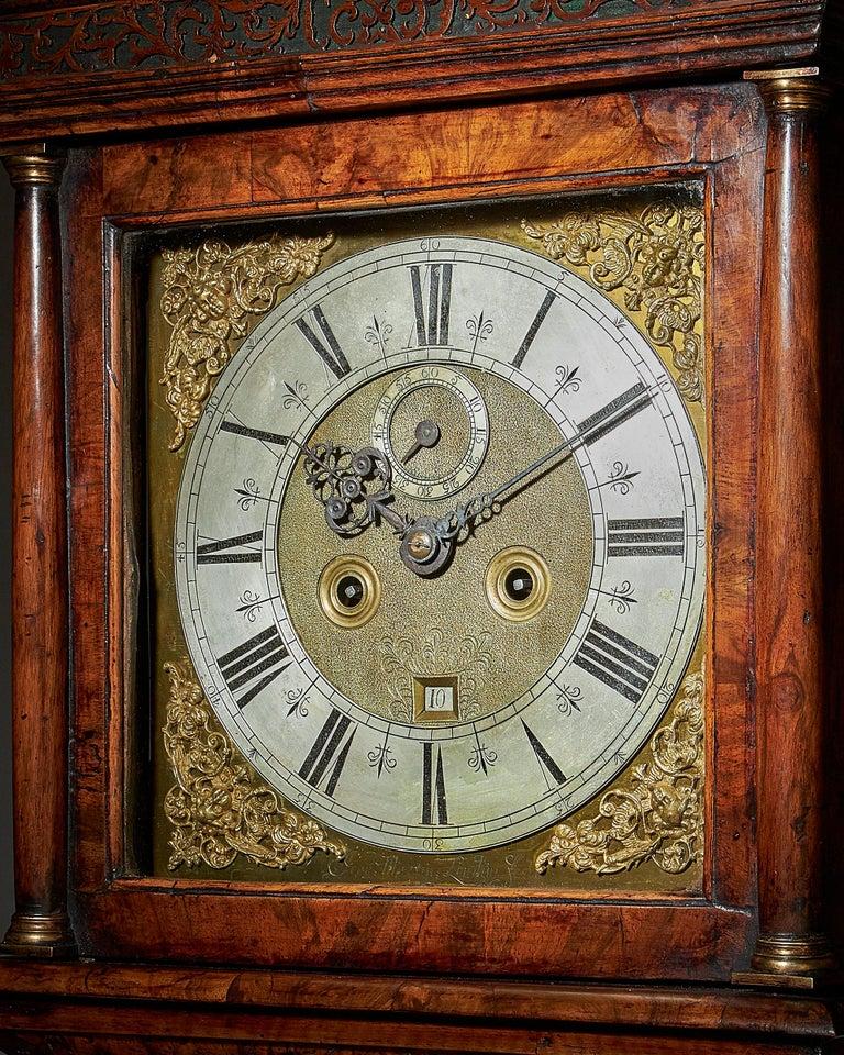 Brass 17th Century William and Mary Eight Day Burr Walnut Longcase Clock, John Martin For Sale