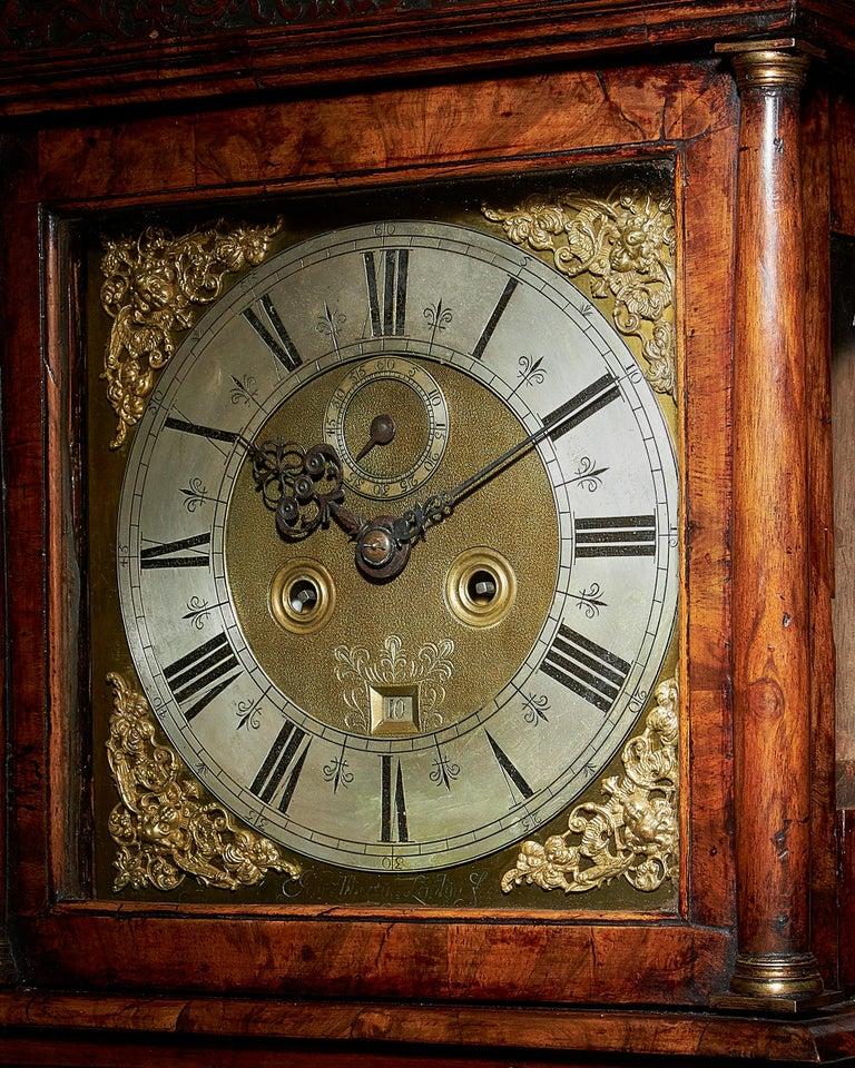 17th Century William and Mary Eight Day Burr Walnut Longcase Clock, John Martin For Sale 1