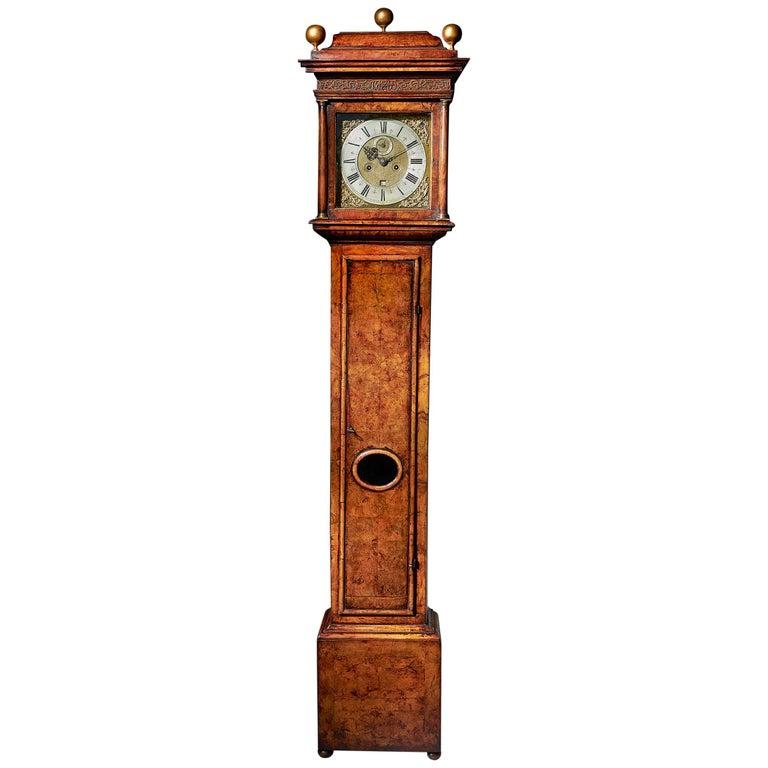 17th Century William and Mary Eight Day Burr Walnut Longcase Clock, John Martin For Sale