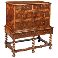 17th Century William and Mary Olive Oyster Chest of Drawers on Stand