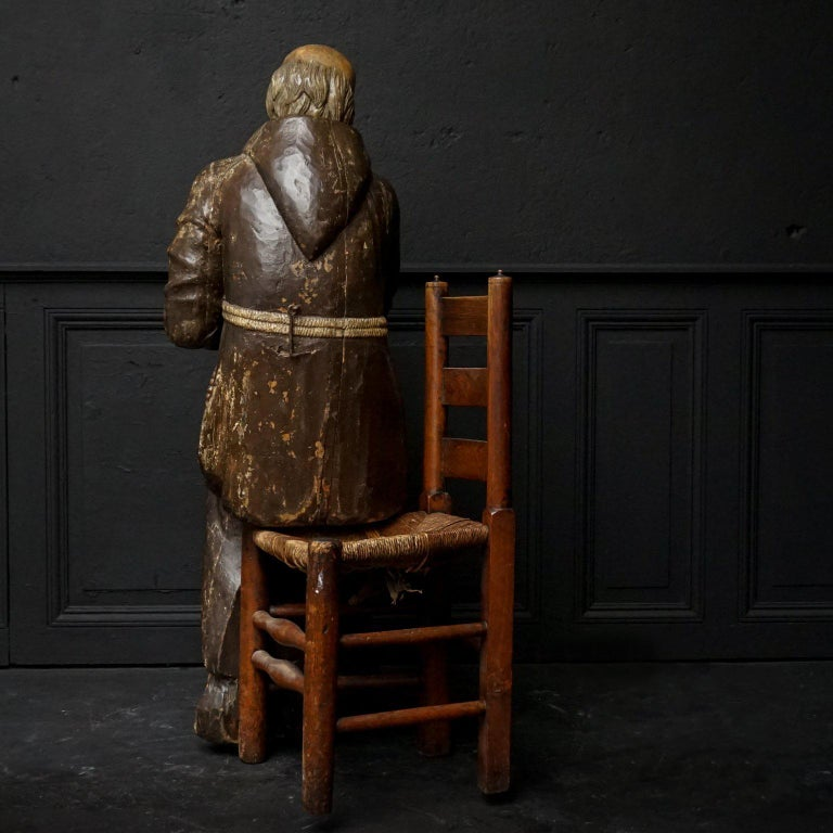 17th Century Wood Carved Polychromed Lifesize Sitting Franciscan Friar In Good Condition For Sale In Haarlem, NL