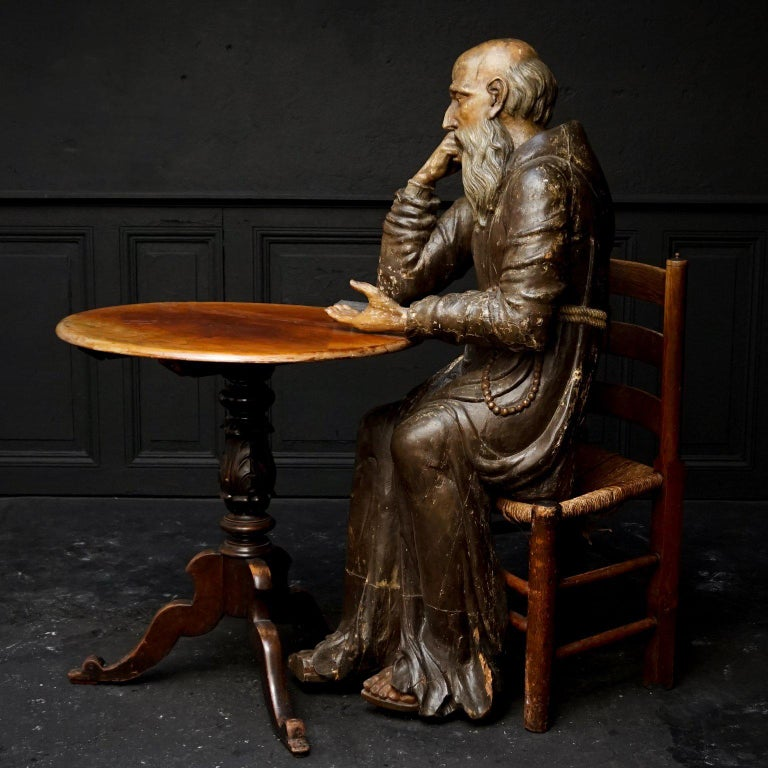 18th Century and Earlier 17th Century Wood Carved Polychromed Lifesize Sitting Franciscan Friar For Sale