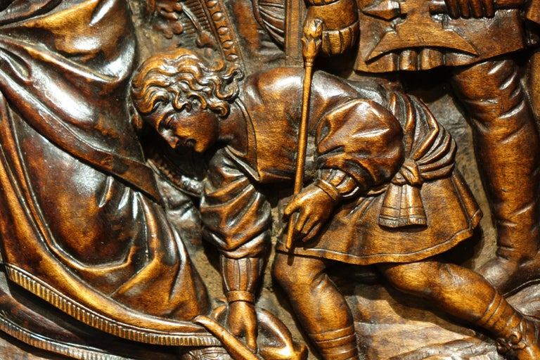 French 17th Century Wood Panel Sculpture Carved in Low Relief, Italy or France For Sale
