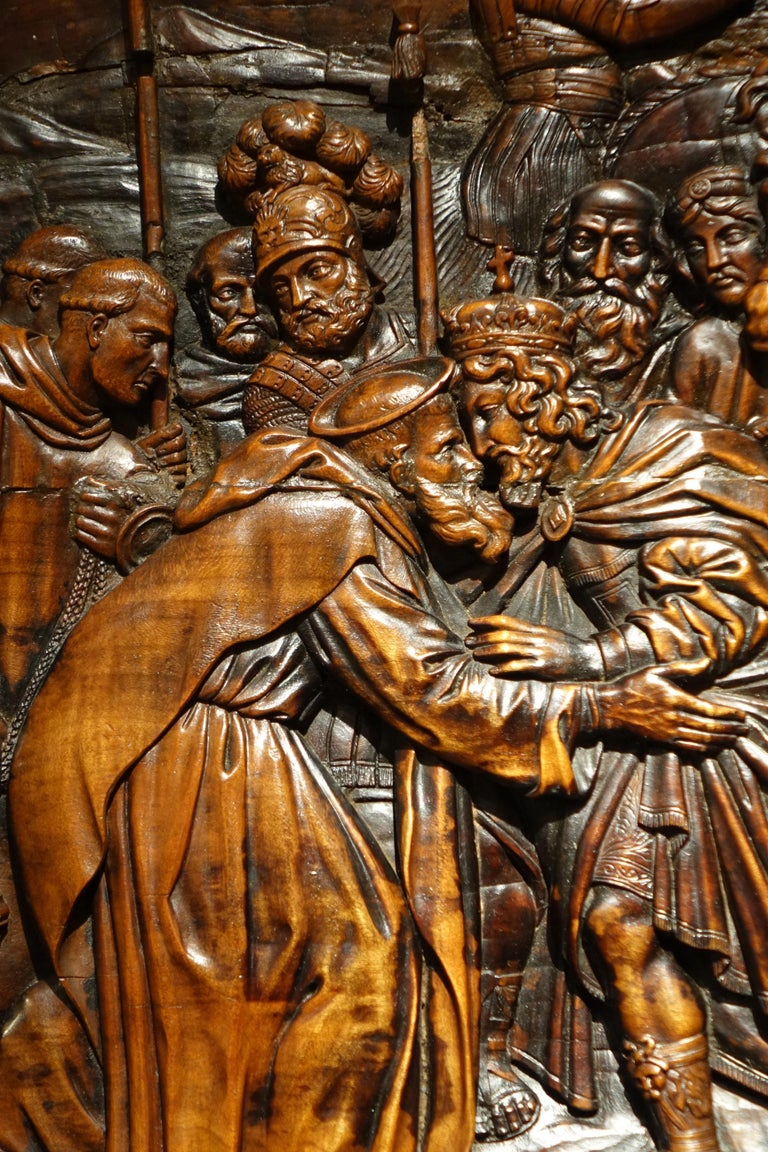 18th Century and Earlier 17th Century Wood Panel Sculpture Carved in Low Relief, Italy or France For Sale